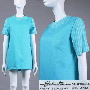 M/L Vintage 60s Turquoise Mega Mini Dress